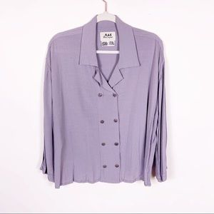 Flax   Lavender Polyester Double Button Blouse LG